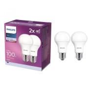 SET 2 BECURI LED PHILIPS, soclu E27, putere 12.5 W, forma clasic, lumina alb, alimentare 220 - 230 V,