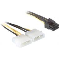 CABLU alimentare GEMBIRD, adaptor Molex la PCI-E, 2 x Molex la 1 x 6 pin PCI-E,