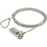 CABLU securitate LOGILINK pt. notebook, slot standard, cifru cu patru discuri, 1.5m, cablu otel,
