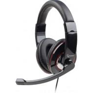 CASTI Gembird, cu fir, standard, utilizare multimedia, microfon pe brat, conectare prin Jack 3.5 mm x 2, negru,