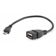CABLU adaptor OTG GEMBIRD, pt. smartphone, Micro-USB 2.0 (T) la USB 2.0 (M),  15cm, asigura conectarea telef. la o tastatura, mouse, HUS, stick, etc., negru,