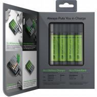 Incarcator GP Batteries, Recyko compatibil NiMH (AA/AAA), include 4 x 2700 mAh AA (R6), functie powerbank,  incarcare USB, 6 LED-uri indicare incarcare,