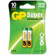 Baterie GP Batteries, Super Alcalina AAA (LR03) 1.5V alcalina, blister 2 buc.