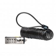CABLU securitate KENSINGTON pt. notebook slot standard, cifru cu patru discuri, conectare directa, 1.8m, cablu otel spiralat, 3.5mm,