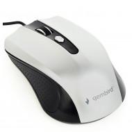 MOUSE GEMBIRD, PC sau NB, cu fir, USB, optic, 1200 dpi, butoane/scroll 4/1, , negru / gri,