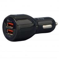 ALIMENTATOR auto SPACER, 2 x USB (1 x USB QC3.0 & 1 USB max. 3.1A), pt. bricheta auto, black,