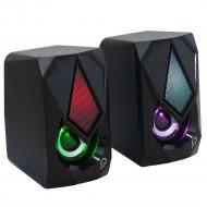 BOXE SPACER Gaming 2.0, RMS:  6W (2 x 3W), control volum, 4 x LED, USB power, black,