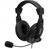 CASTI  Spacer, cu fir, standard, utilizare multimedia, microfon pe brat, conectare prin Jack 3.5 mm x 2, negru,
