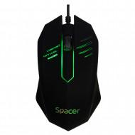 MOUSE  Spacer, PC sau NB, cu fir, USB, optic, 1000 dpi, butoane/scroll 3/1, iluminare, negru,
