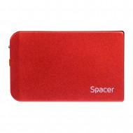 RACK extern SPACER, pt HDD/SSD, 2.5 inch, S-ATA, interfata PC USB 3.0, aluminiu, rosu,