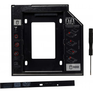 RACK intern SPACER, tip caddy 9.5mm, 5.25 inch la 2.5 inch, S-ATA, interfata PC S-ATA, metal, negru,