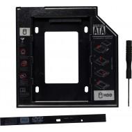 RACK intern SPACER, tip caddy 12.7mm, 5.25 inch la 2.5 inch, S-ATA, interfata PC S-ATA, metal, negru,