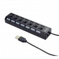HUB extern GEMBIRD, porturi USB: USB 2.0 x 7, conectare prin USB 2.0, alimentare retea 220 V, cablu 0.5 m, negru,